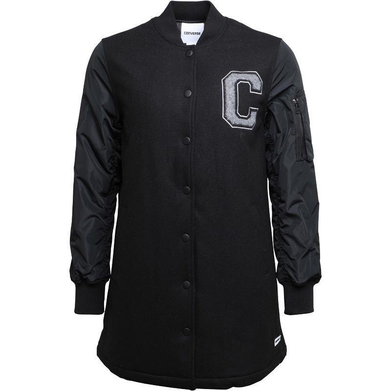 Converse Womens Long MA 1 Baseball Jacket Black | Jackets
