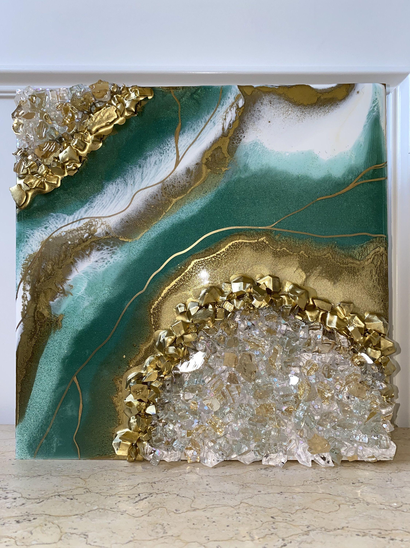 Green Gold Geode Resin Wall Art Etsy Resin Wall Art Resin Art Canvas Etsy Wall Art