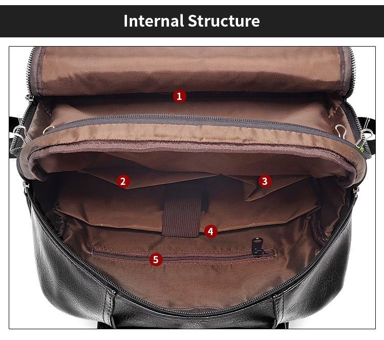 56552c04e15e AHRI Men Business Casual Backpacks for School Travel Bag Black PU Leather  Men s Fashion Shoulder Bags Vintage Boys Men Backpack ...