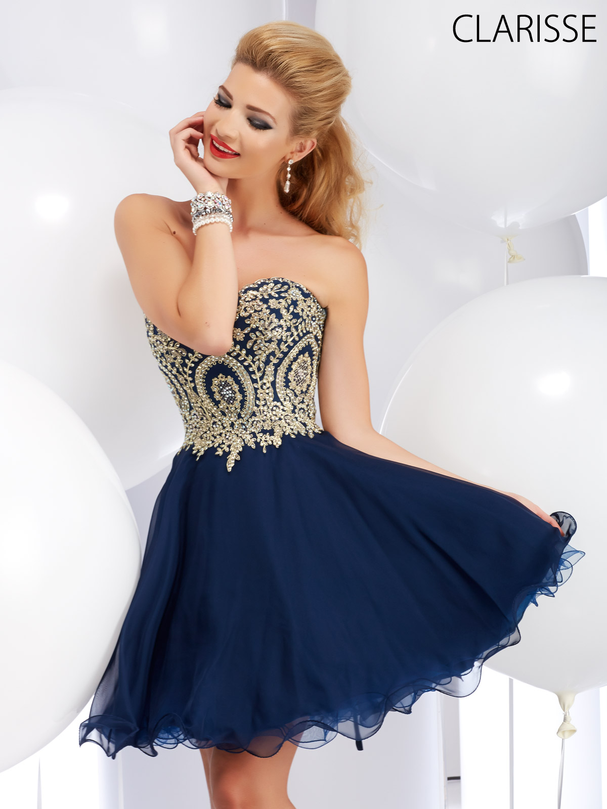 Short Strapless Prom Dress with Lace Applique by Clarisse. Style ...