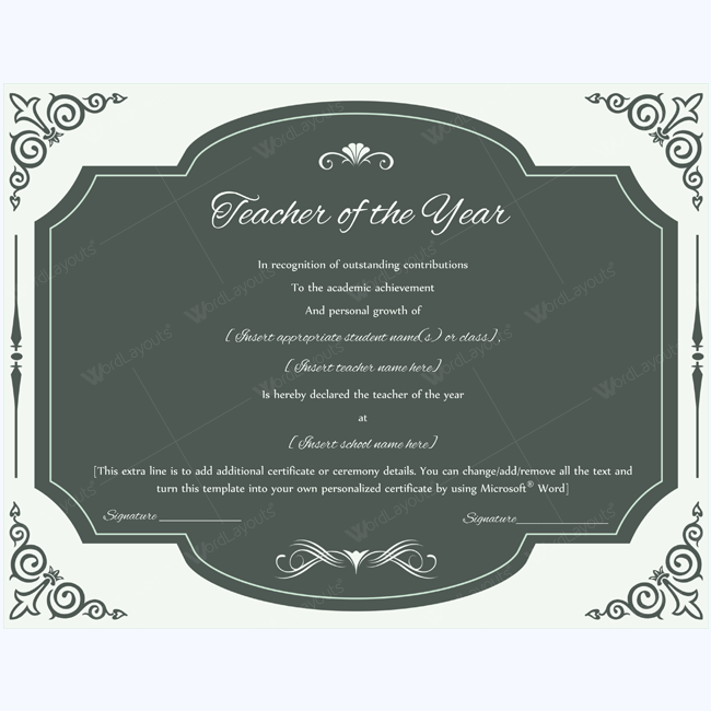 Teacher of the year 03 pinterest certificate and teacher printable teacher of the year certificate teacher teacheraward awardcaertificate bestteacher yelopaper