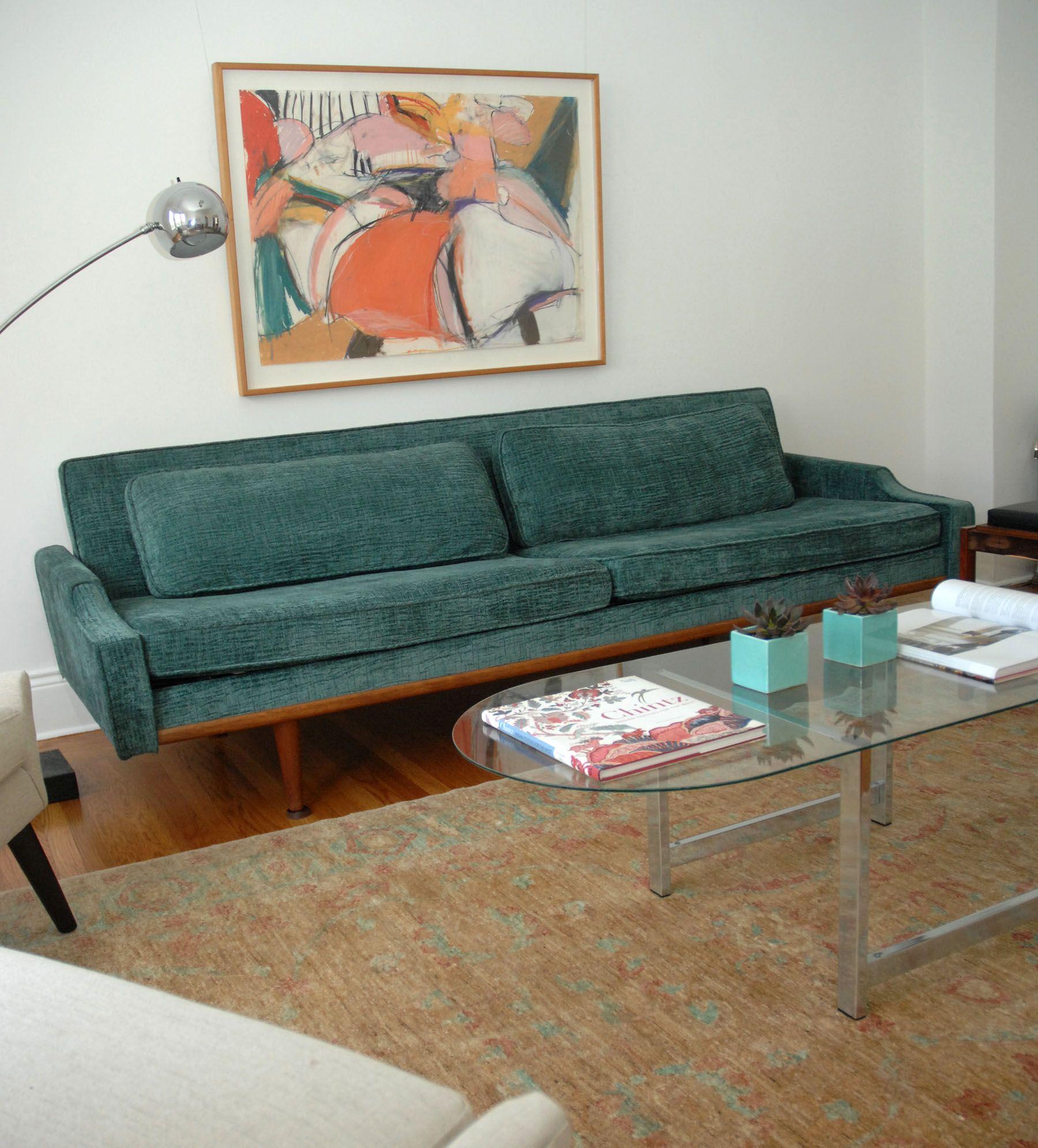 midcentury emerald green sofa  green sofa emerald green