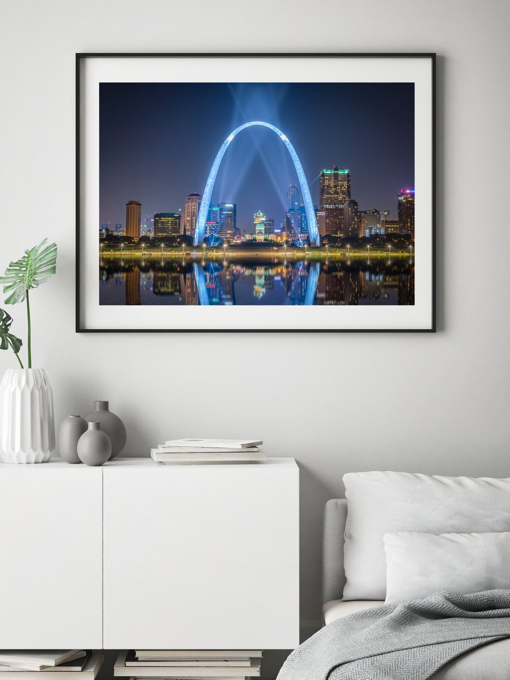 St Louis Wall Art Of Gateway Arch Downtown Skyline At Night With