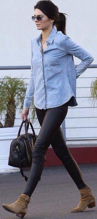e57ff52afd Camisa jean + leggins negros + botines café claro