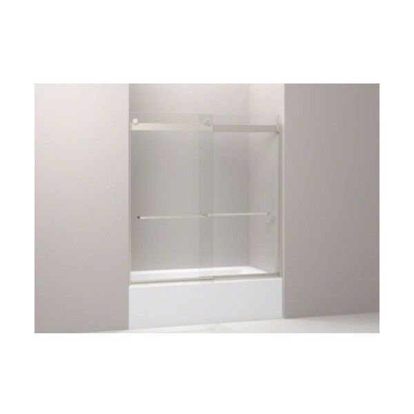 "Kohler K-706107-L Levity Frameless 62"" x 31-1/2"" Rear Panel and ($685) ❤ liked on Polyvore featuring home, home improvement, plumbing, brushed nickel, glass panel, shower doors and showers"