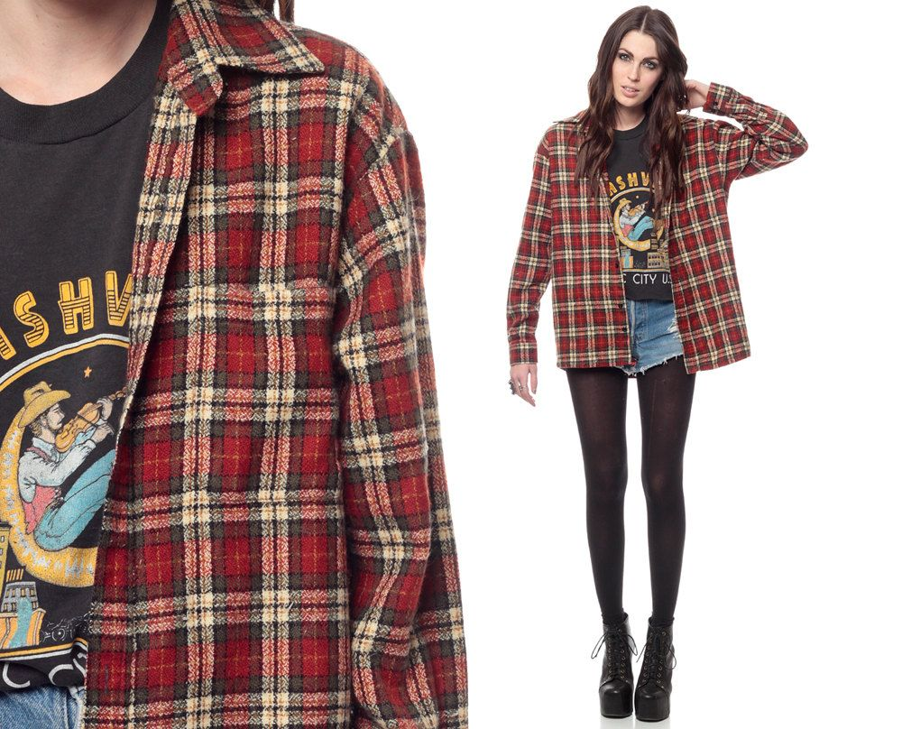 Top fashion trends of the 90s - 90s Plaid Shirt Red Grunge Long Sleeve Collared Checkered Button Up 1990s Lumberjack Vintage Flannel Women Men Oversized Extra Small Medium