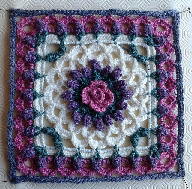 Eve\'s Coverlet 12 square ~ free pattern ᛡ | Crochet blankets ...