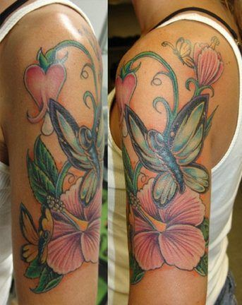 Such A Pretty And Feminine Female Quarter Sleeve Arm Tattoo Of Flowers And Butterflies Butterfly Tattoo Designs Flower Vine Tattoos Vine Tattoos