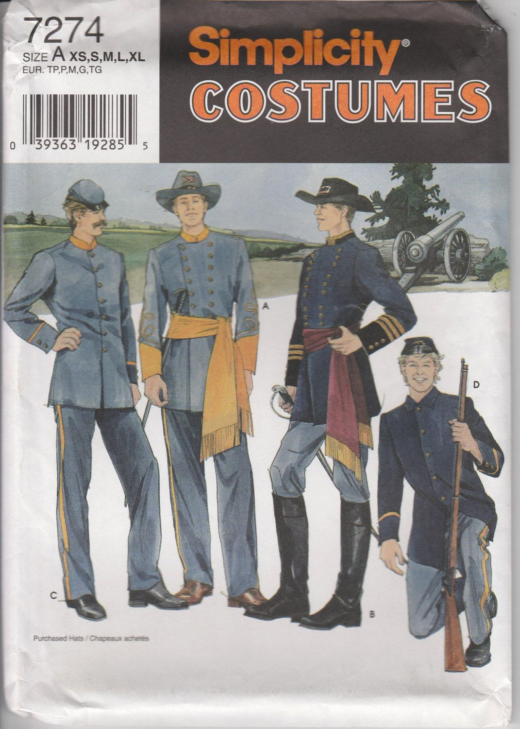 Civil War Uniform Costume Pattern Union Confederate Military ...