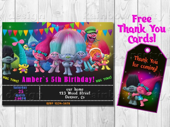 Trolls Invitation Birthday Troll Invites Party Favors First Outfit