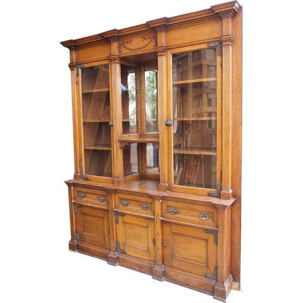 Victorian Oak Glazed Door Built In Bookcase Display Cabinet