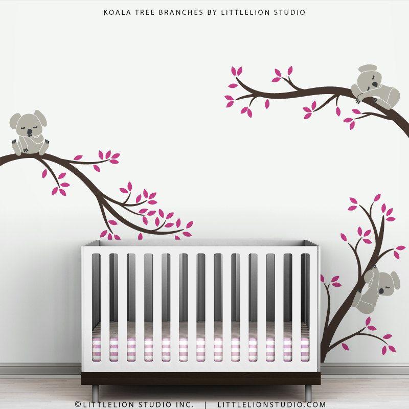 Brown Pink Wall Sticker Kids Wall Decal Baby Nursery Decor Koala