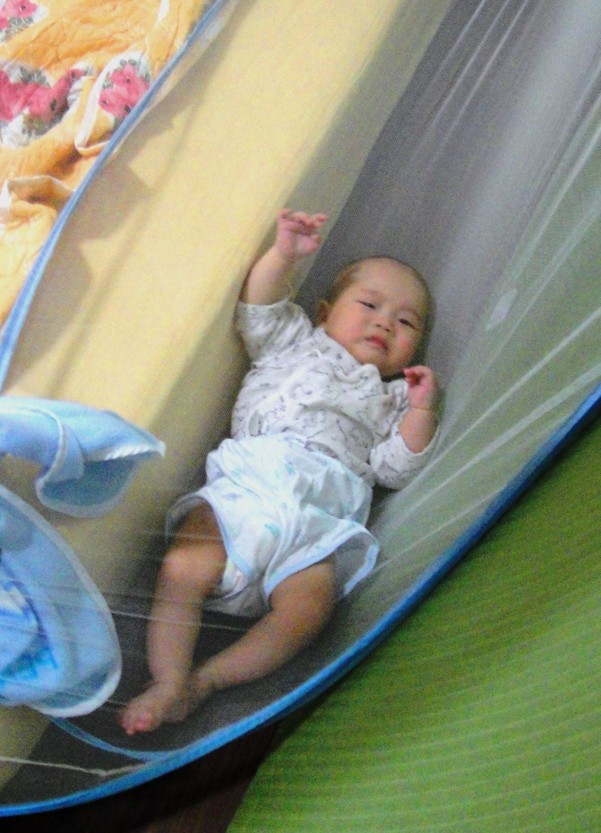 Baby Falling Off The Bed And In The Net Bed