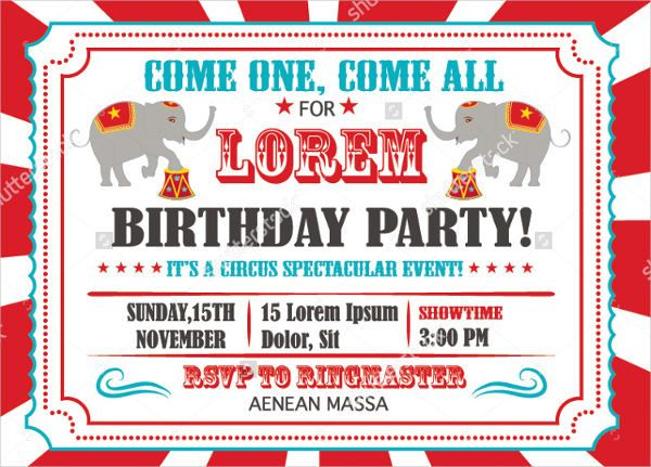 circus theme invitation templates 7