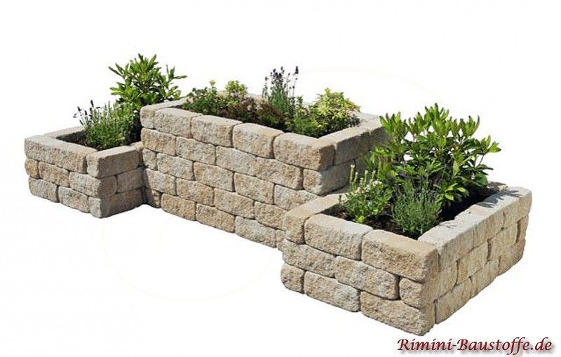 Mauersteine Calvi Als Beeteinfassung Mauersteine Konnen Trocken Oder Mit Einem Montagekleber Verklebt Werden Ab Hochbeet Garten Hochbeet Gartengestaltung