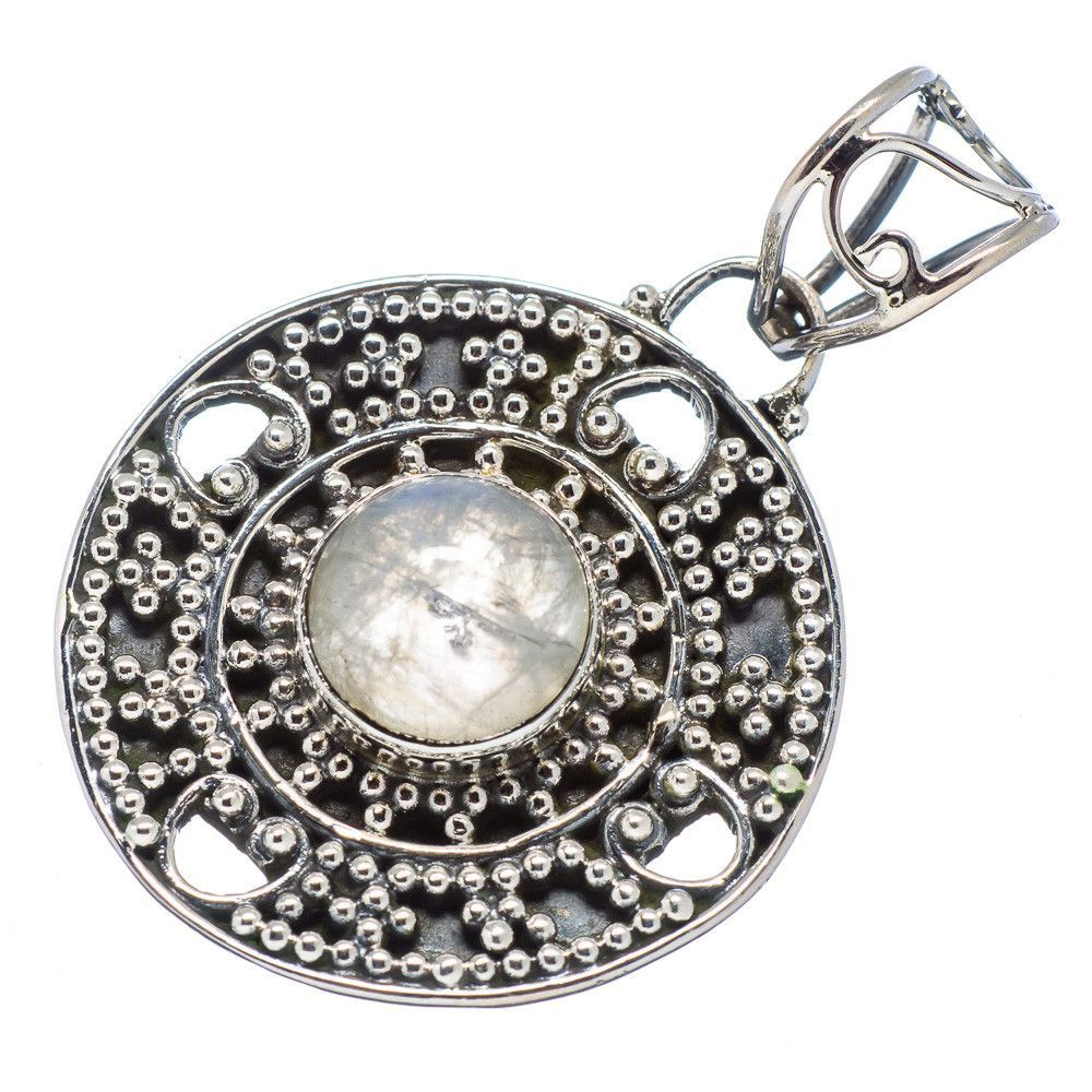 "Rainbow Moonstone 925 Sterling Silver Pendant 1 1/2"" PD491387"