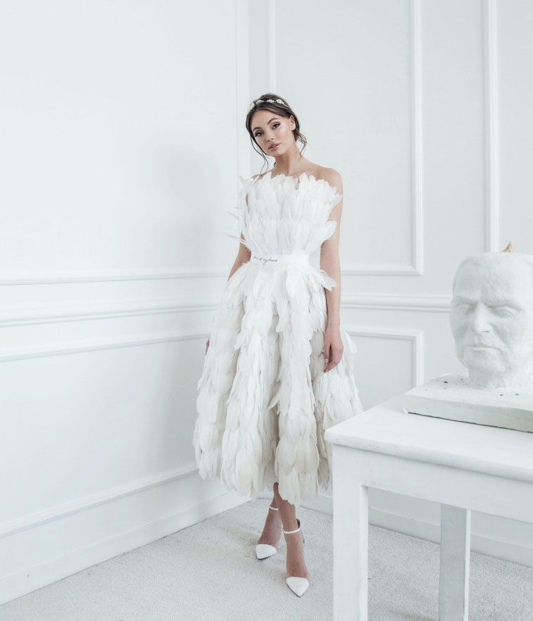 Fabulous Wedding Gowns With Feather Accents Add A