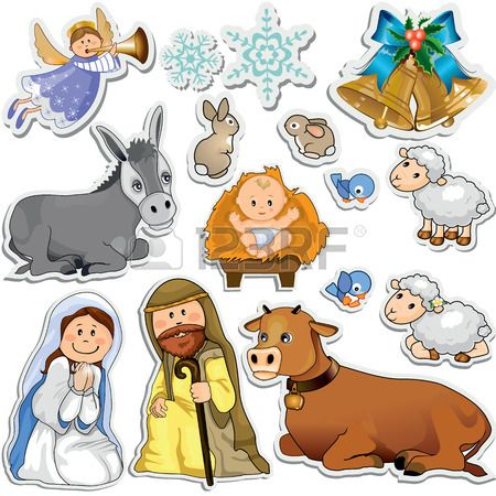Set Of Christmas Stickers Representing The Characters Of