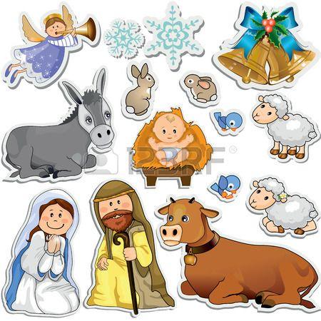 Conjunto De Adesivos De Natal Representando Os Personagens Da Sagrada Família Máscara De Gradiente Eps10 Imagenes De Pesebres Pegatinas De Navidad Artesanía Biblica