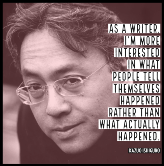 Congratulations to Kazuo Ishiguro, winner of the 2017 Nobel Prize in Literature.