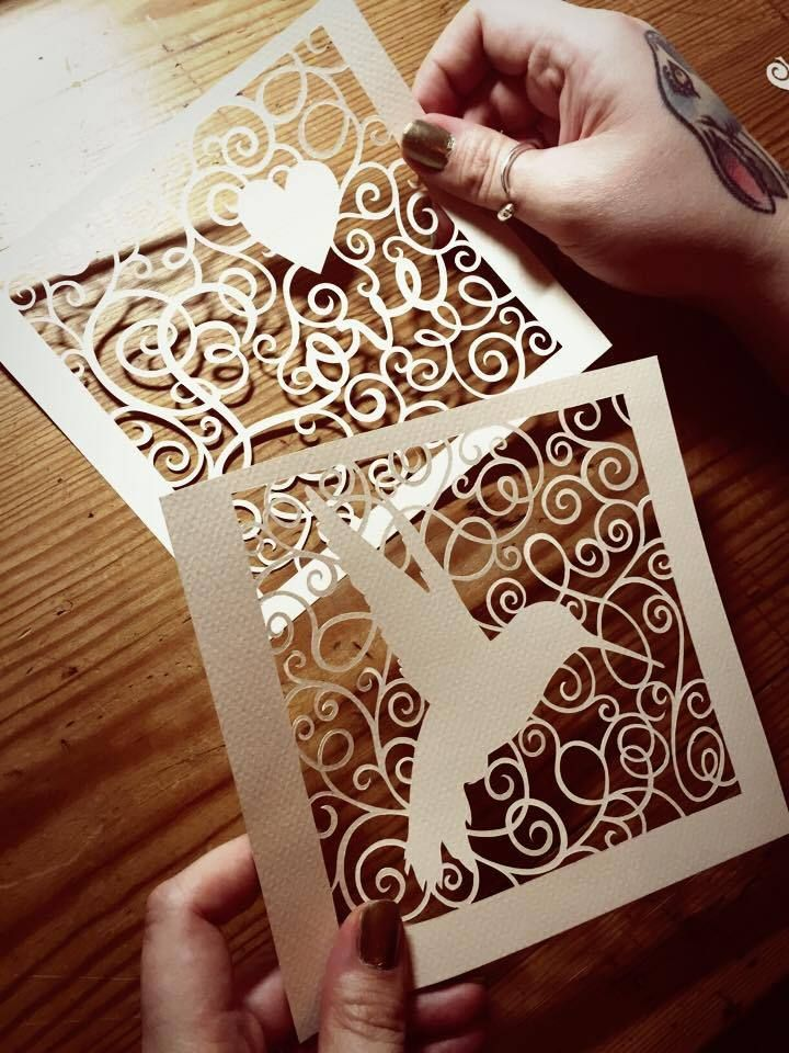Image of Papercut DIY Design Template - Swirls (Hummingbird & Love)