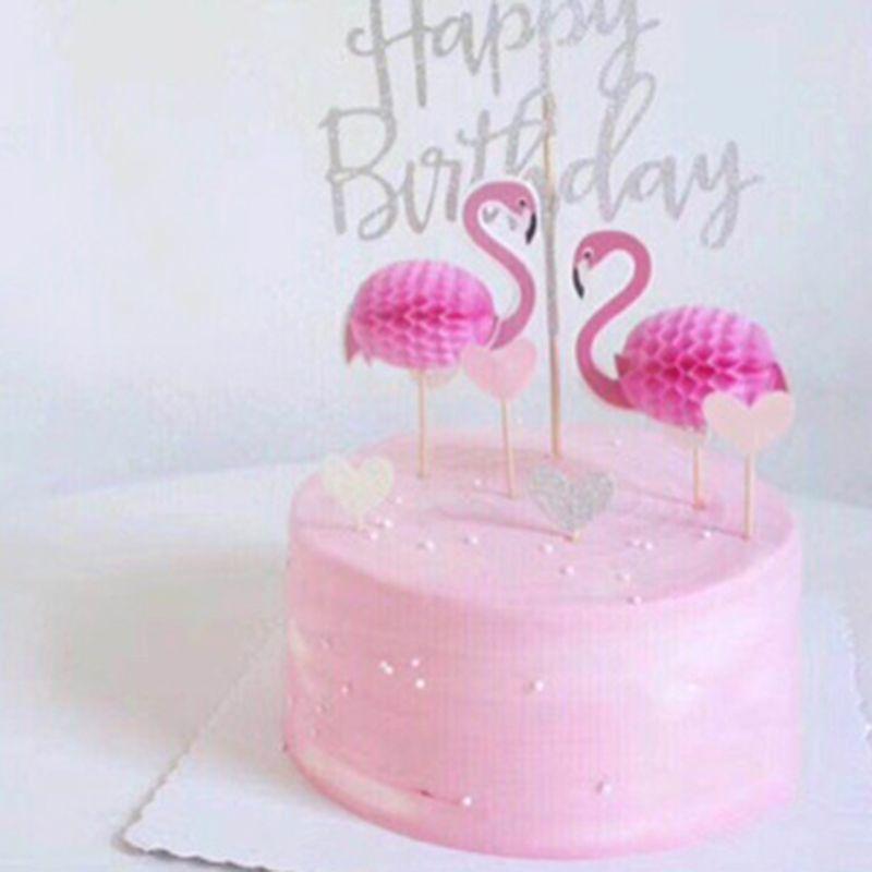 1b8d43369c38 Cheap 1 unid 3D Flamingo Cupcake toppers DIY pasteles Topper piña ...
