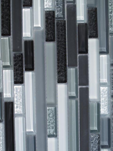 Horizontal Glass Tile Backsplash black white and grey horizontal glass mosaic tile | kitchen