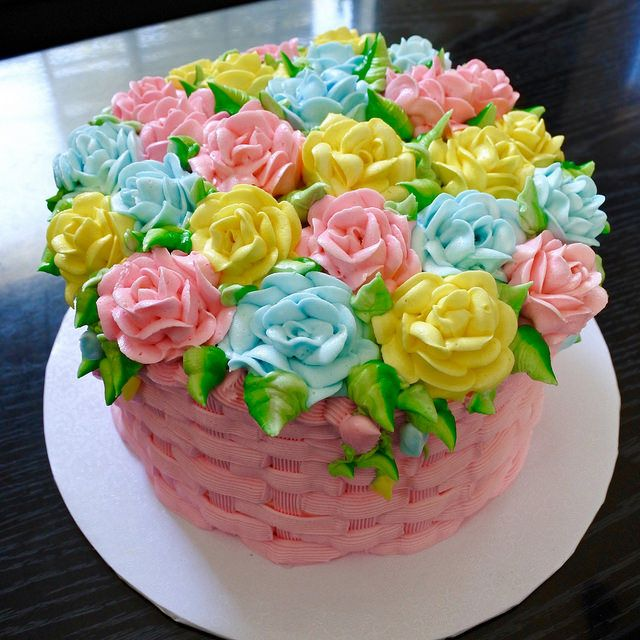 Rose Basket Weave Cake Bolo Floral Bolo Chantily Bolo