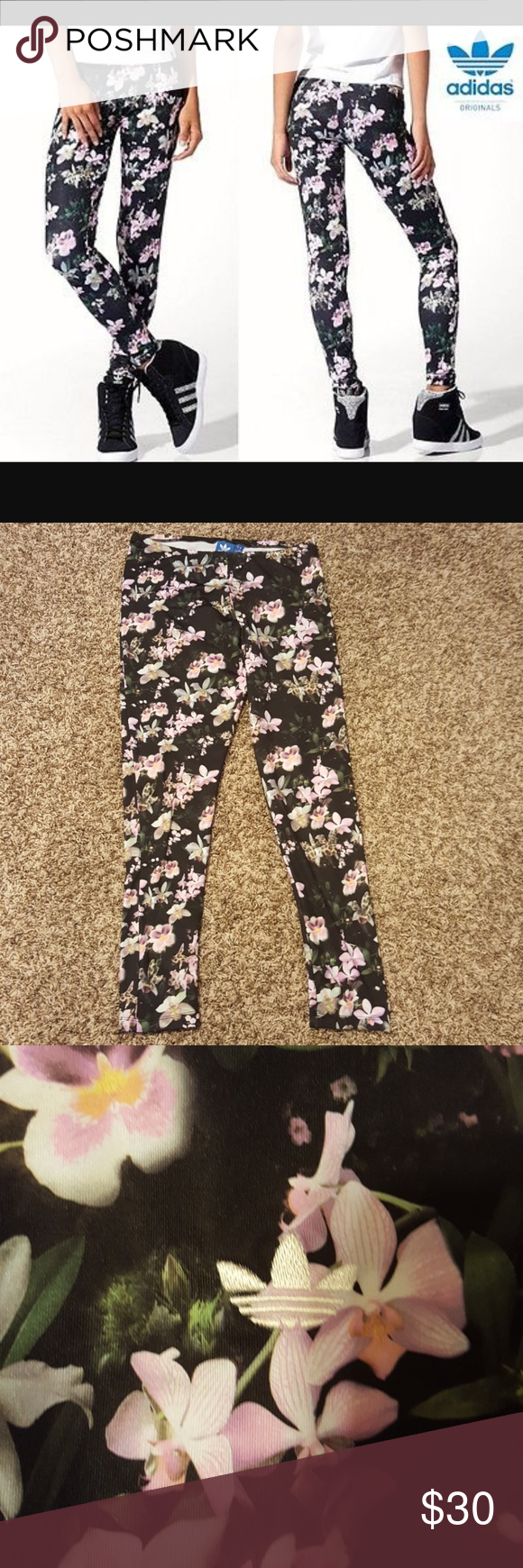 bf71a7d2ebd0b Adidas Originals Orchid flower print leggings Cute Adidas Originals leggings.  Excellent condition size medium. adidas Pants Leggings