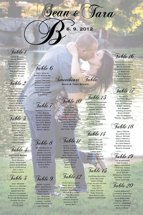 Wedding Seating Chart With Photo, Table Seating Assignments