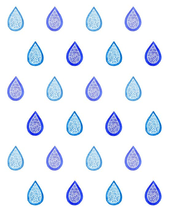Blue Raindrops Art Print By Savousepate On Society Pattern