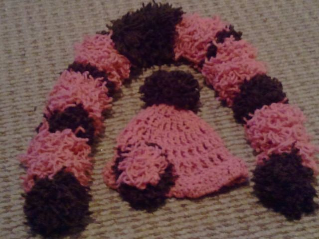 Pom pom scarf and matching hat. Shown rose and chocolate. $20 set  Custom color choice avaliable
