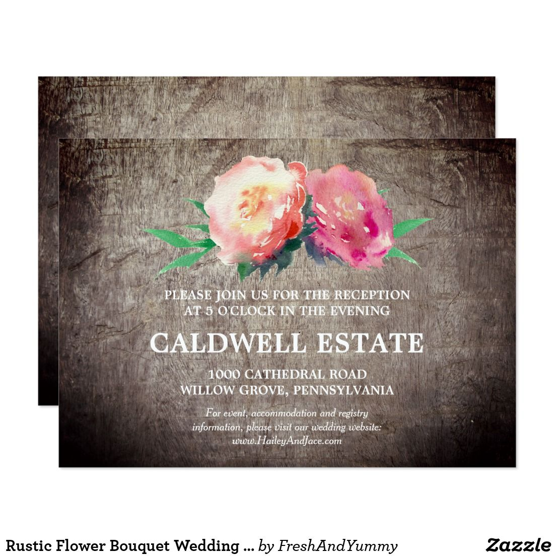 Rustic Flower Bouquet Wedding Reception Insert Card This Rustic