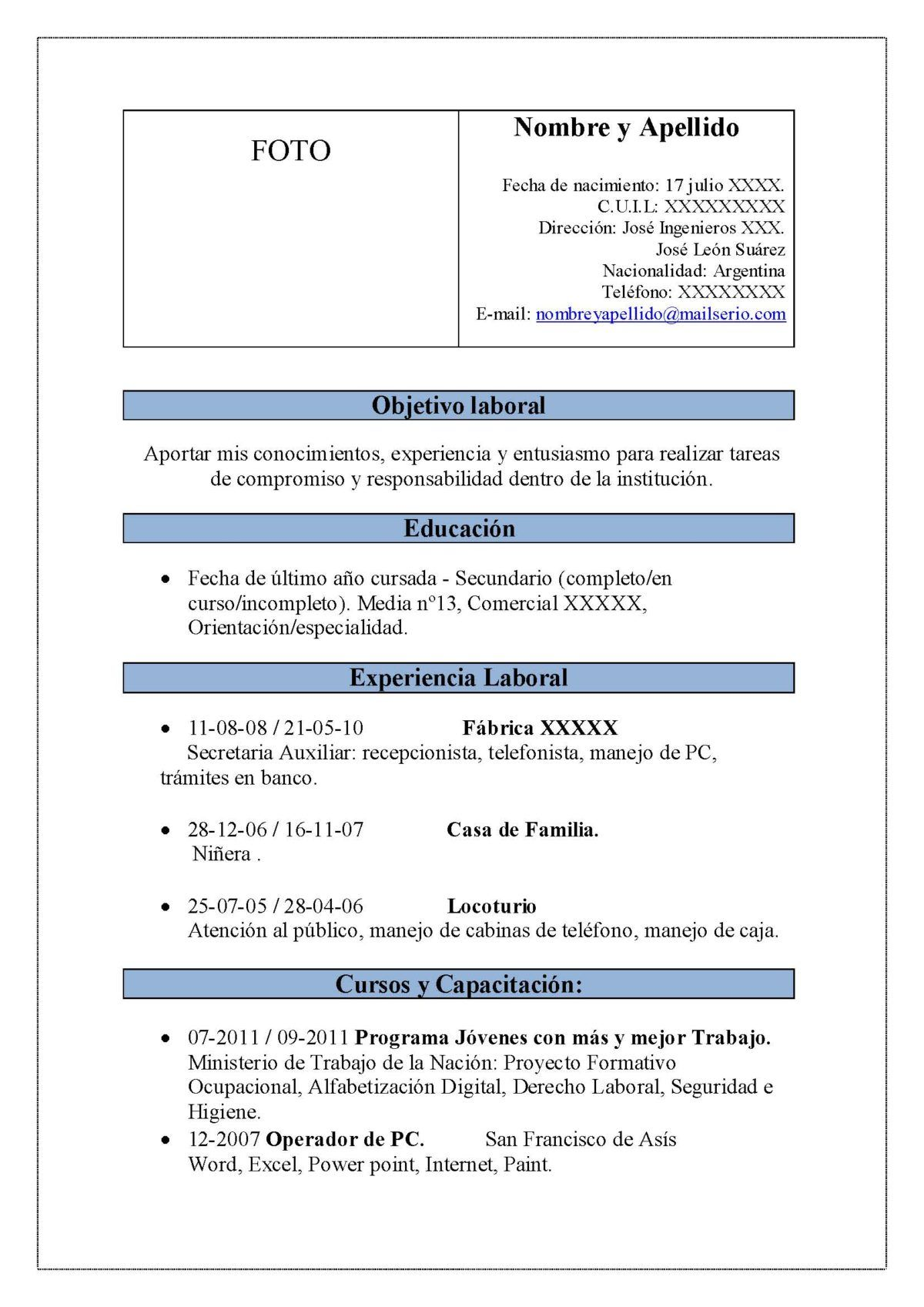 Atractivo Proyecto Ingeniero Reanudar Objetivo Colección - Ejemplo ...