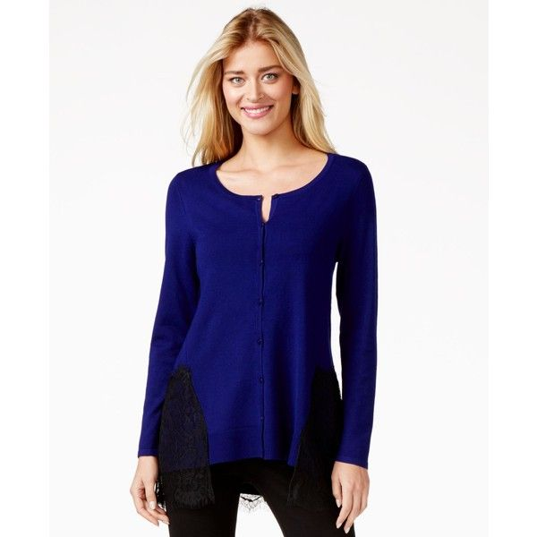 Alfani Lace-Hem Cardigan ($60) ❤ liked on Polyvore featuring tops, cardigans, purple, alfani, blue cardigan, lace cardigan, lacy tops and lace trim cardigan