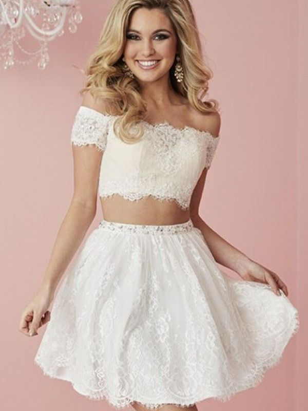 b9bb4f06b Short Homecoming Dress,Two pieces homecoming dress,Crop Tops homecoming  dress,Lace homecoming dress,simple homecoming dress,beautiful dress, homecoming ...
