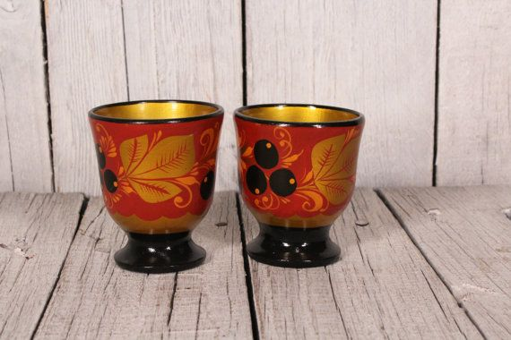 Khokhloma Cups Wooden Soviet Cups Russian Folk Art Hand Painted