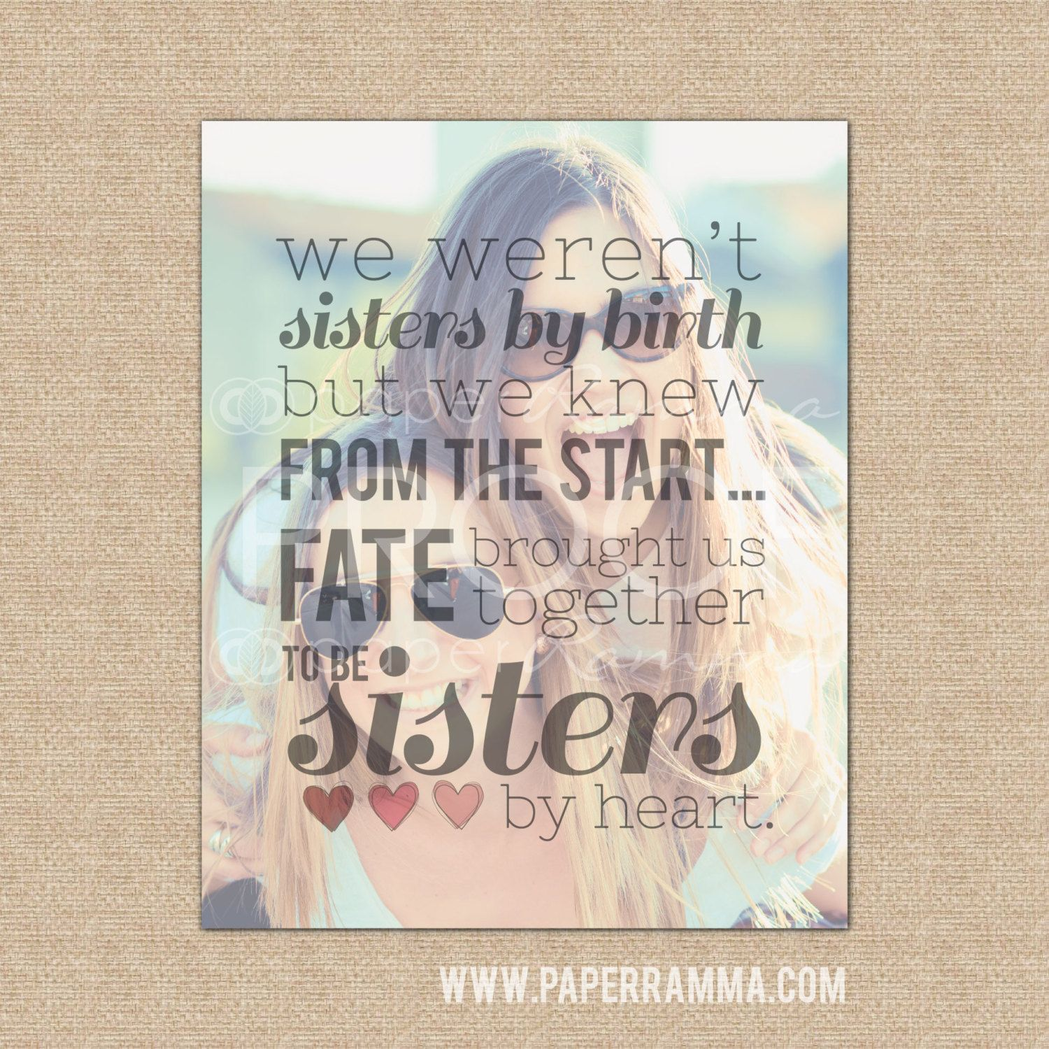 Sisters By Heart Best Friend Birthday Gift Best Friend