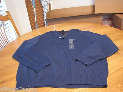 Men's Tommy Hilfiger long sleeve sweater shirt v neck XL bunker blue heather