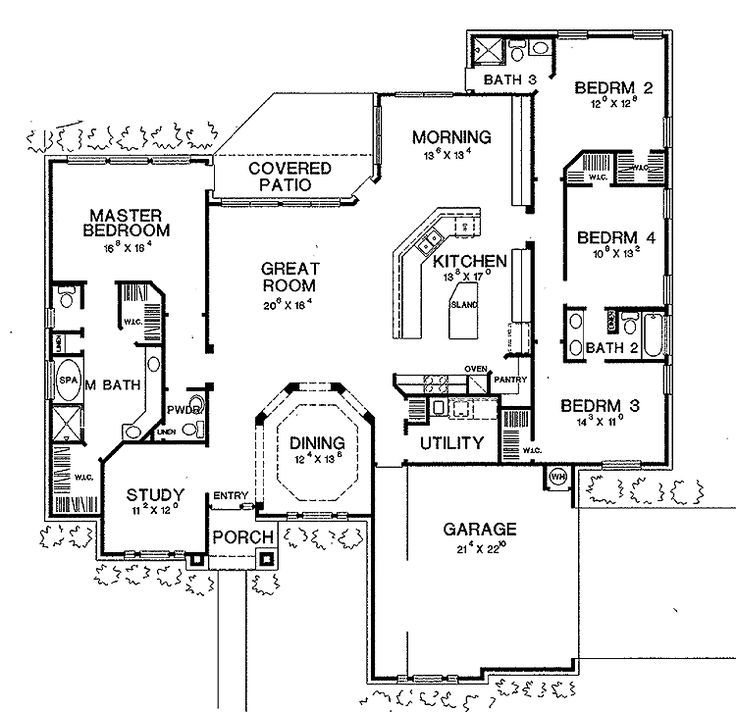 I love this house layout! Change the study to a workout room, closing it  off from the entryway and addung a door into the master bath. Open floor  plan ...