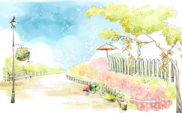 Art Drawing Romantic Scene Of The Seasons Wallpaper 39