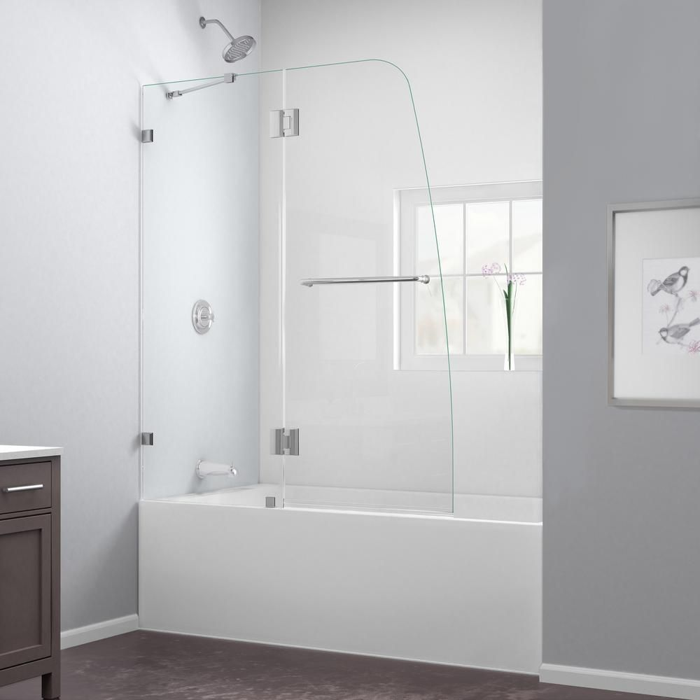 Semi Framed Pivot Tub Shower Door In Chrome With Handle
