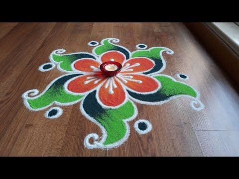 Simple , Easy and Quick freehand Rangoli designs with colours ...