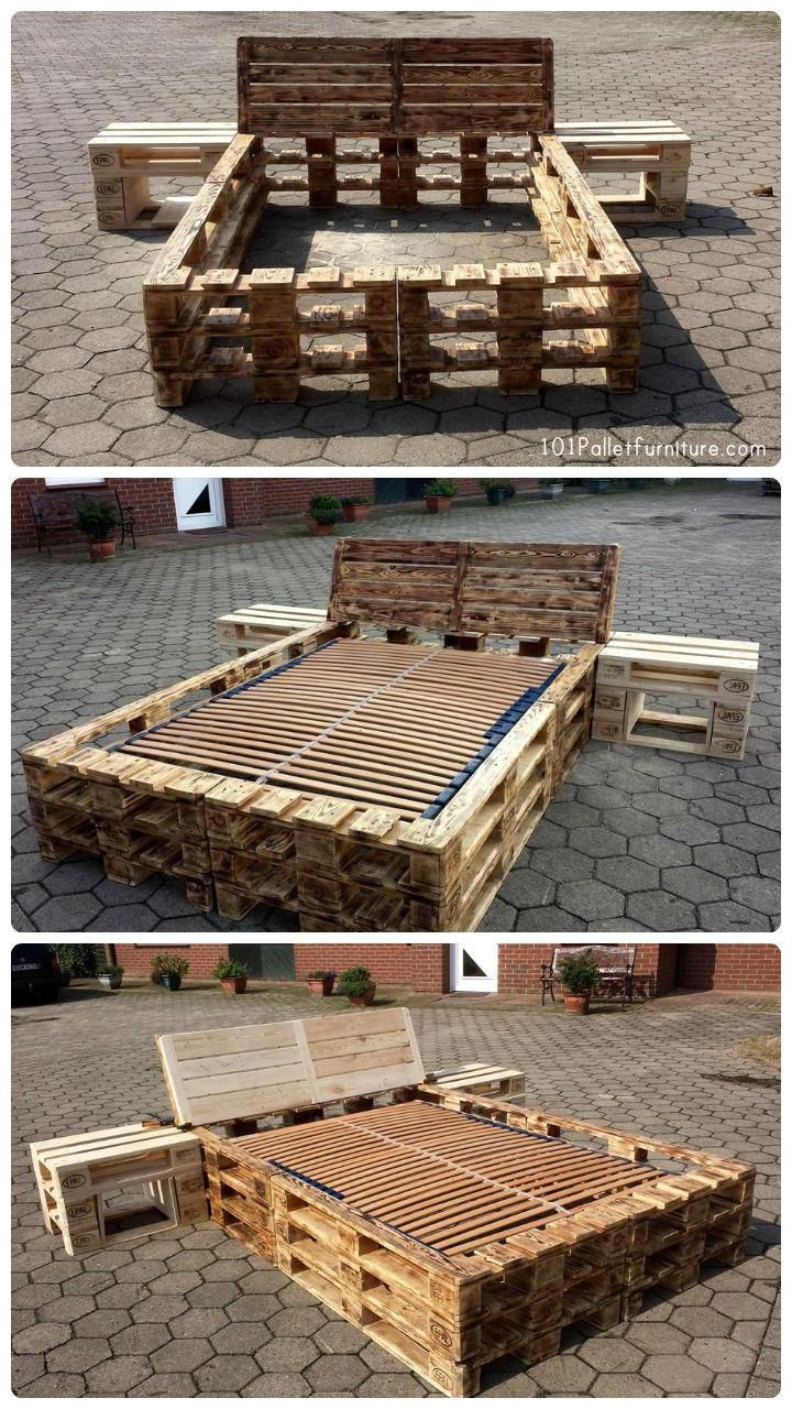 diy pallet bed frame with nightstands palettenm bel bett und palettenbett. Black Bedroom Furniture Sets. Home Design Ideas