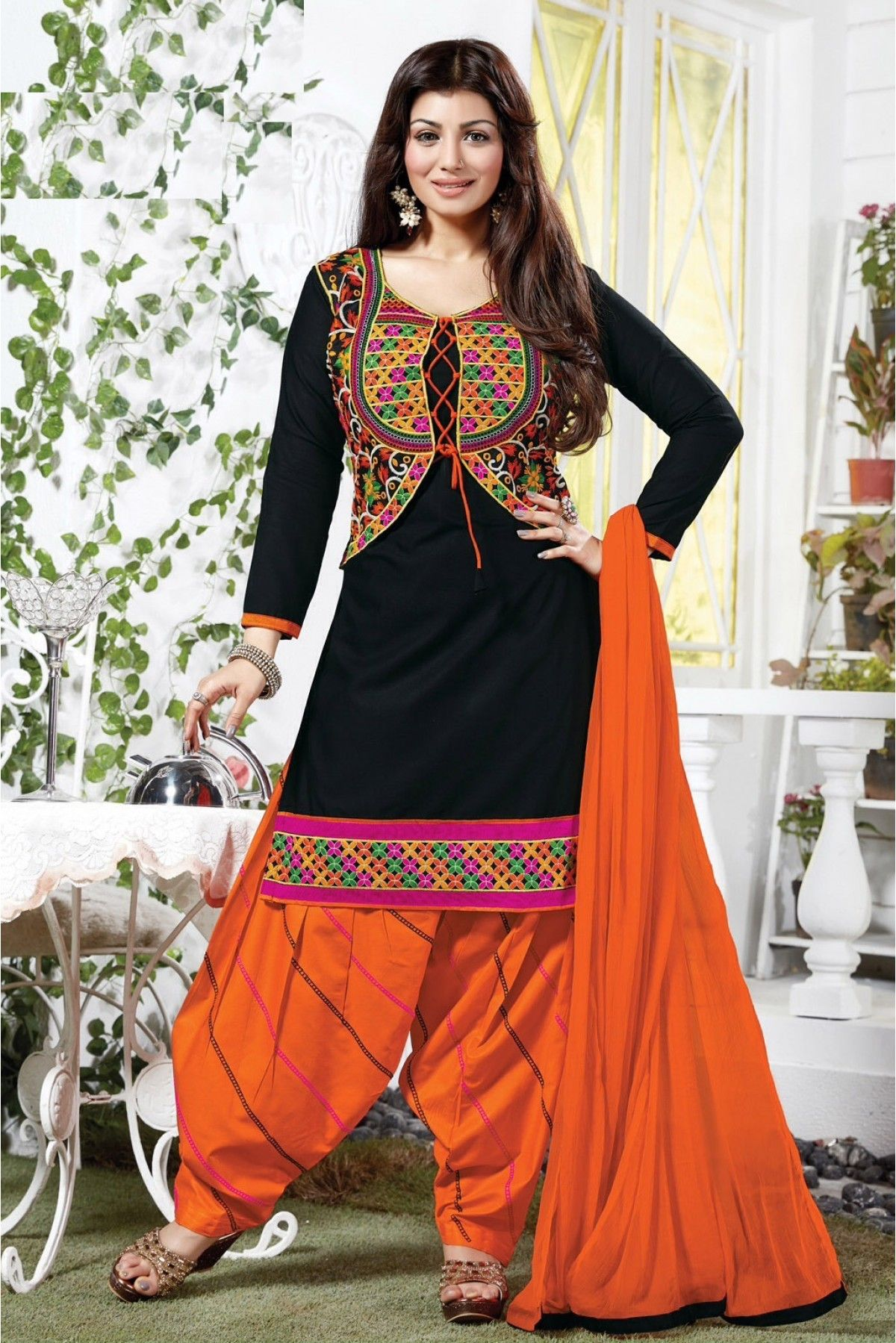 2ba3d52a10 Bollywood Ayesha Takia Cotton Party Wear Patiala Salwar Kameez in Black  Colour.It comes with matching Dupatta and Bottom.It is crafted with  Embroidery.
