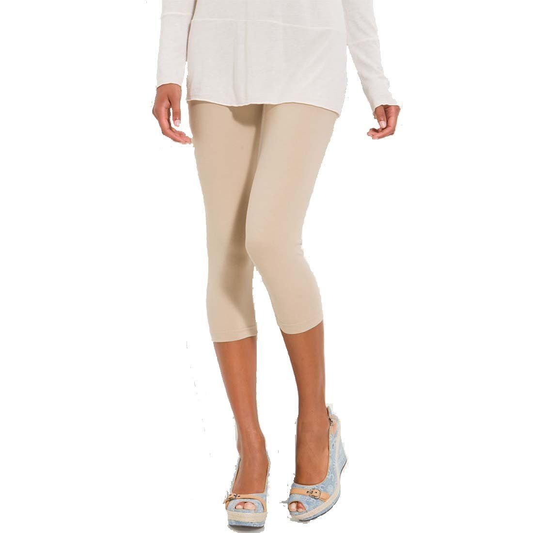 Stretch Cotton Capri Crop Seamed Leggings Tights ($8.50) http ...