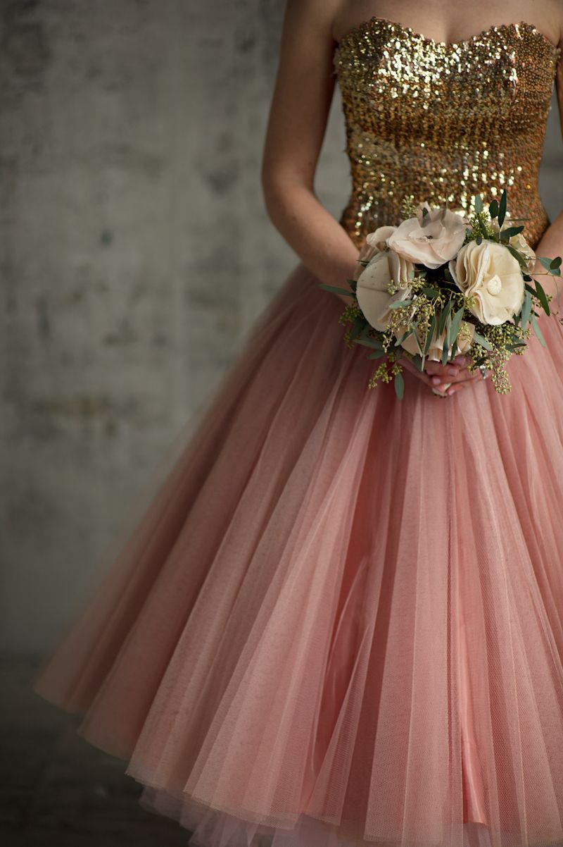 Vintage 1950s party dress with gold sequin top and layers of pink tulle.