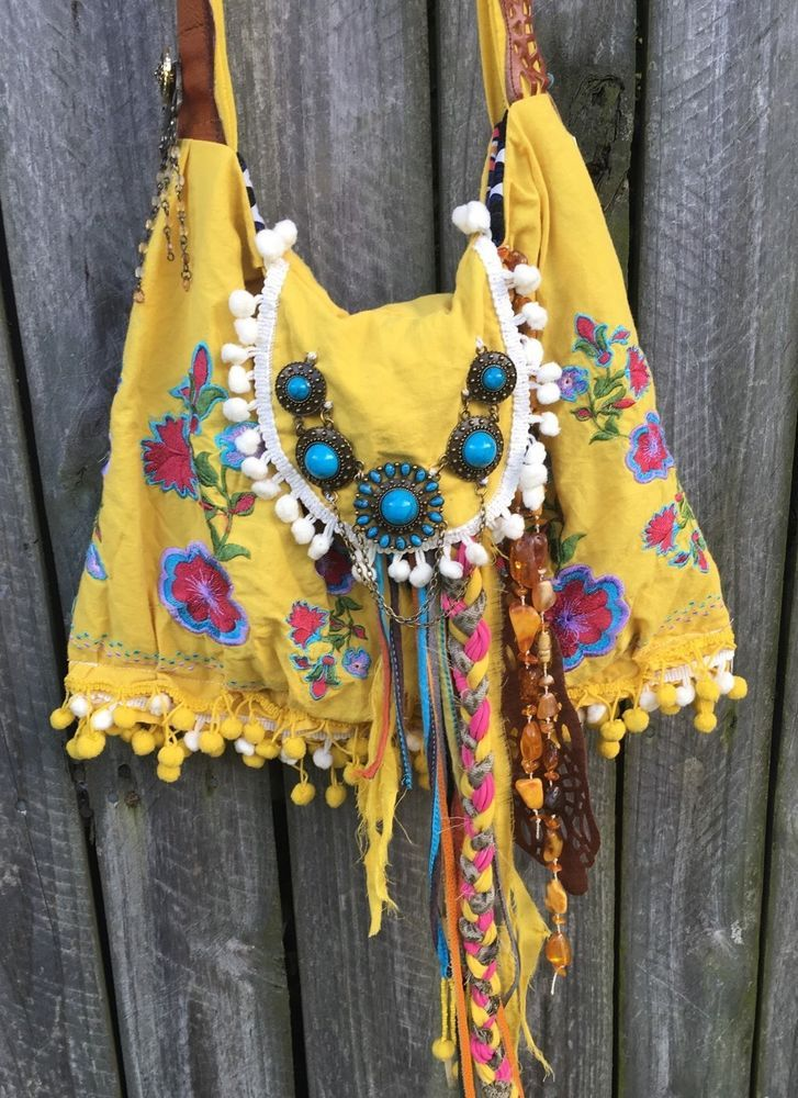 Handmade Fabric Suede Leather Fringe Baubles Bag Boho Hippie Cross Body B Joy | eBay