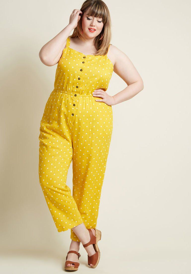 a95d59c1fb81 Every Waking Momentum Cotton-Linen Jumpsuit in Yellow Dotted