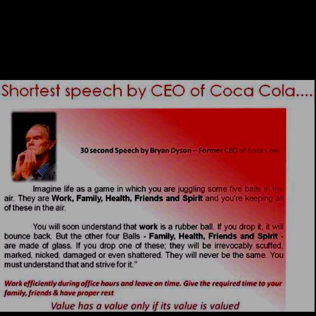 30 second speech bryan dyson former ceo coca cola
